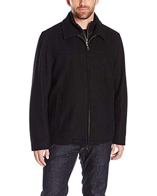 Tommy Hilfiger - Black Wool Melton Laydown Collar Shortie With Bib for Men - Lyst