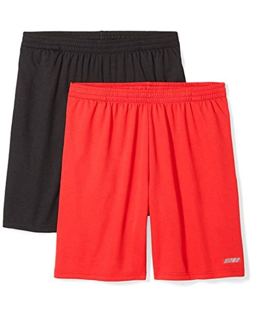 0a3244209 Amazon Essentials - Red  s 2-pack Loose-fit Performance Shorts for Men ...