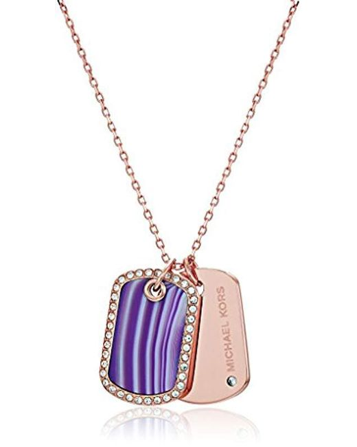 Michael Kors - Metallic S Perfect For Gifting - Purple Agate, Pave-accented Dog Tag Pendant Necklace - Lyst