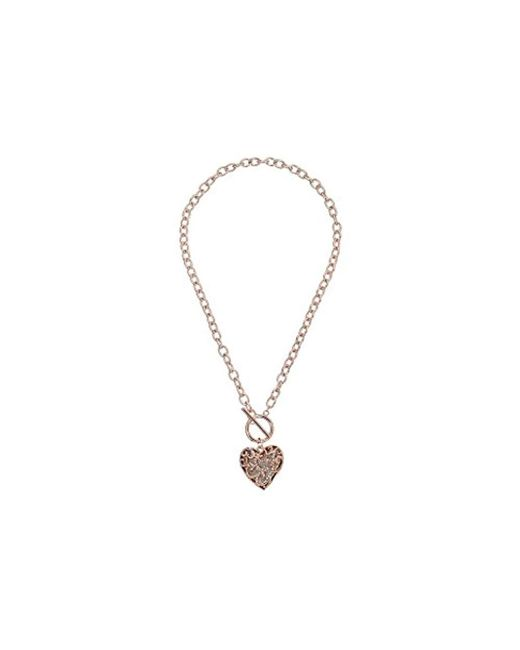 Guess - Metallic S Swirl Pave Heart Toggle Pendant Necklace - Lyst