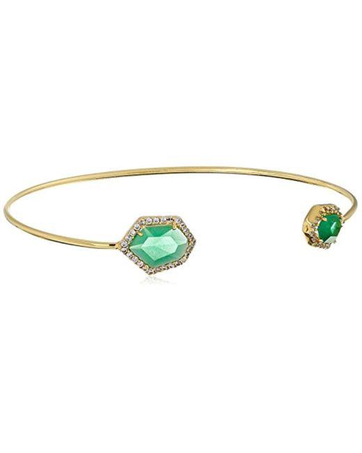 Tai - Green Chrysoprase Double-stone Open Cuff Bracelet - Lyst