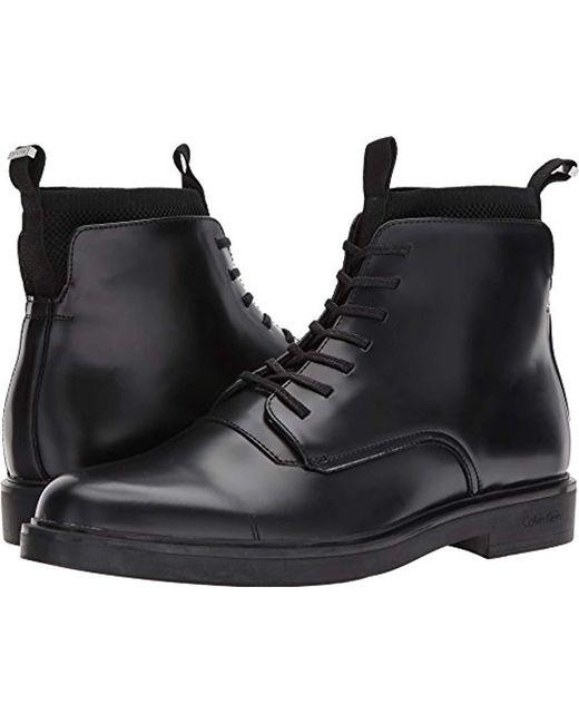 Calvin Klein - Black Devlin Box Leather/knit Boot for Men - Lyst
