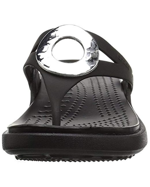 8351cdf45b86 ... Crocs™ - Black Sanrah Hammered Metallic Wedge Flip Sandal - Lyst ...