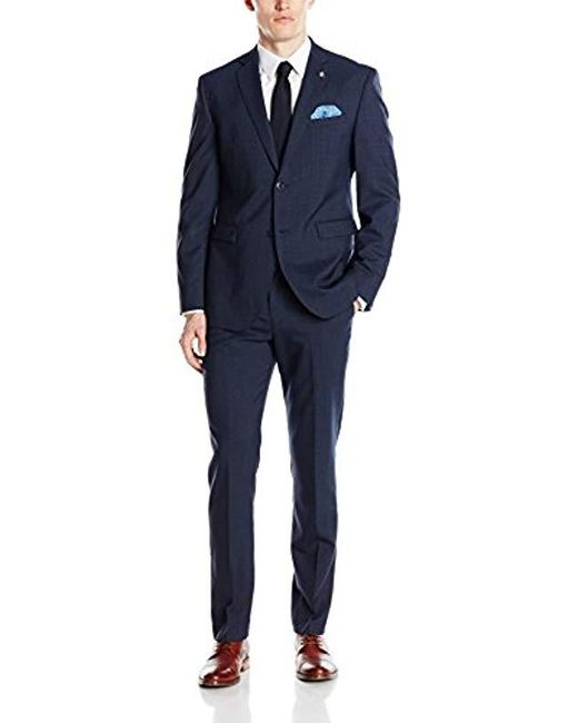 Original Penguin Blue Two Button Slim Fit Check Suit Separate Jacket for men