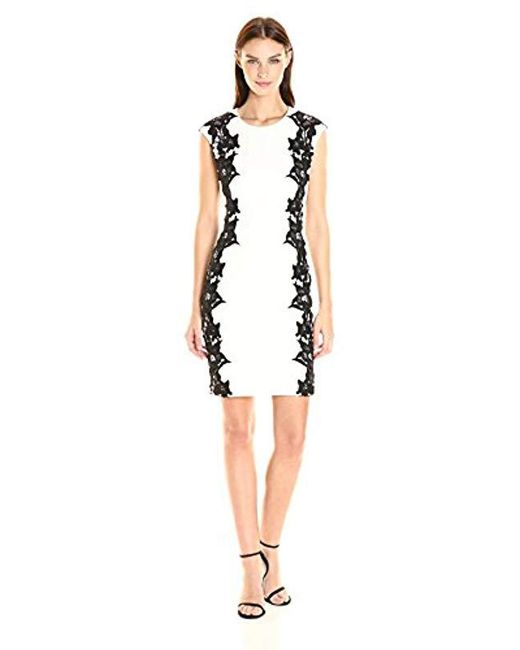 Vince Camuto - Black Sleeveless Dress With Side Lace Panels - Lyst