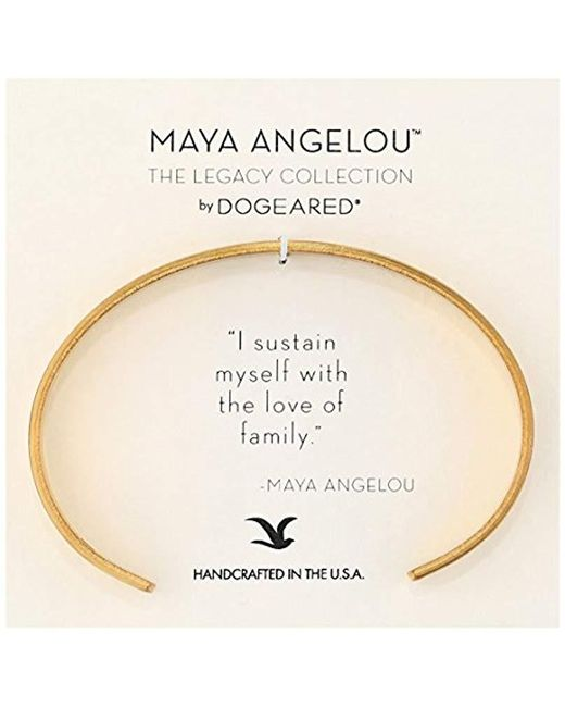 "Dogeared - Metallic Maya Angelou 2.0"" I Sustain Myself. Thin Engraved Cuff Bracelet - Lyst"