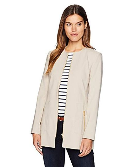 Calvin Klein - Natural Lux Long Zipper Front Jacket - Lyst