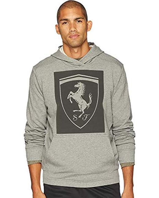 PUMA - Gray Ferrari Big Shield Hoodie for Men - Lyst