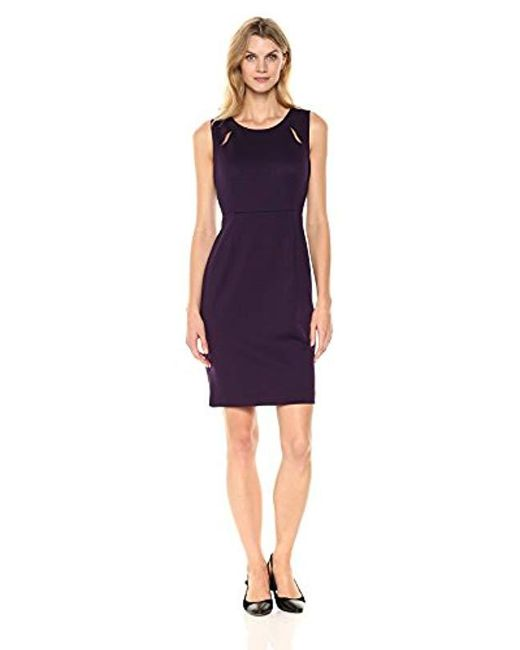 Kasper - Purple Ponte Sheath Dress - Lyst
