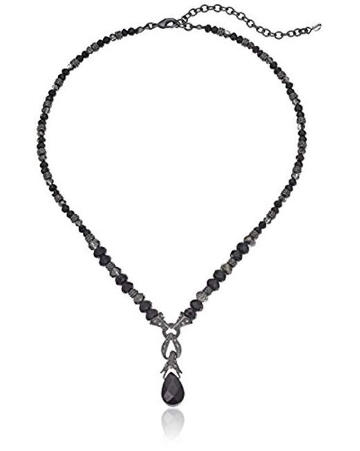 Napier - Hematite-tone And Black Beaded Y-shaped Necklace - Lyst