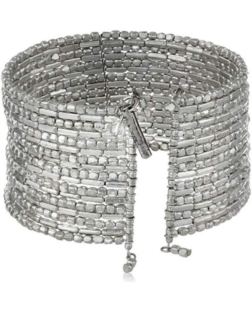"""Kenneth Cole - Metallic """"seed Bead Boost Silver Seed Bead Coil Bracelet, 7.5"""" - Lyst"""
