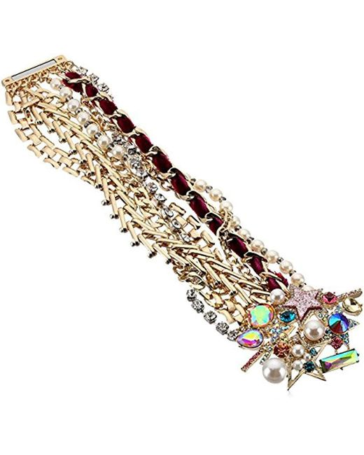 Betsey Johnson - Metallic Colorful Stone And Stone Statement Bracelet - Lyst