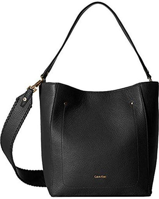 6be8dbc11b8 Calvin Klein Lynn Pebble Hobo in Black - Save 52% - Lyst