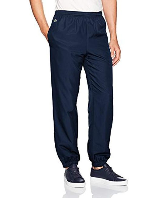 Lacoste Blue Sport Taffetta Pant With Side Zip Detail, Xh120t for men