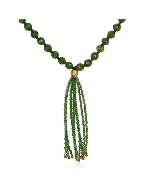 "Satya Jewelry - Green Jade Gold Plate Lotus Bead Tassel Mala Necklace, 30"" - Lyst"