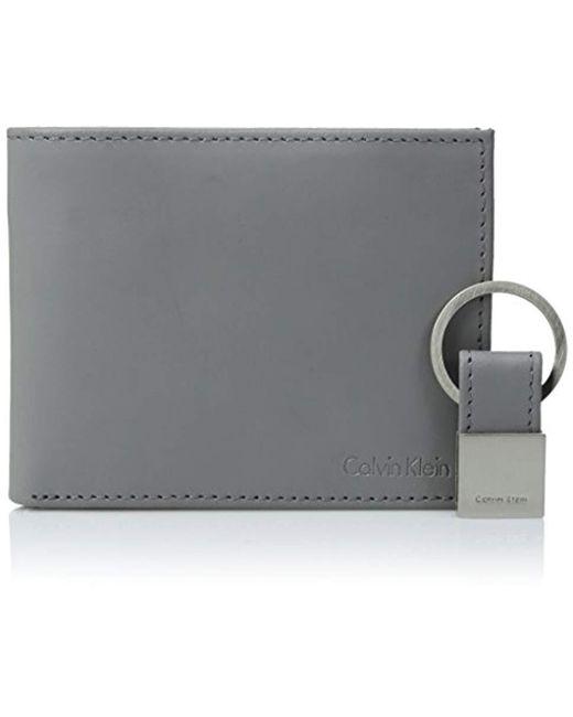 Calvin Klein - Gray Rfid Blocking Leather Bifold Wallet for Men - Lyst