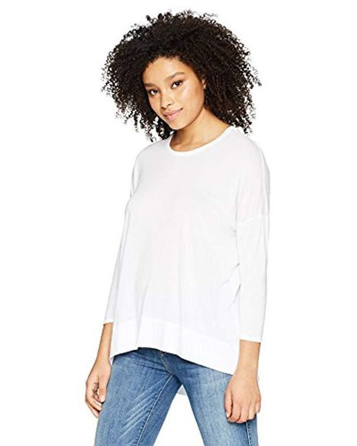 Three Dots - White Vintage Jersey 3/4 Slv Short Loose Top - Lyst
