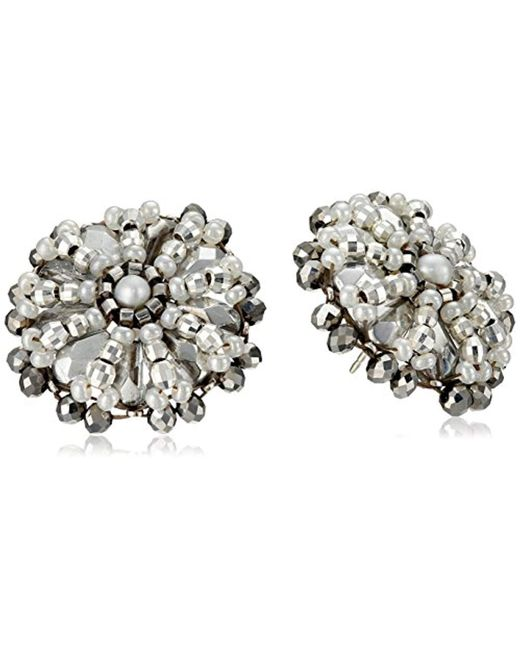 Miguel Ases - White Pyrite Bead And Sterling Silver Button Earrings - Lyst