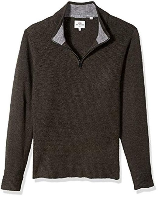 Ben Sherman - Gray Micro Quarter Zip Funnel Neck for Men - Lyst