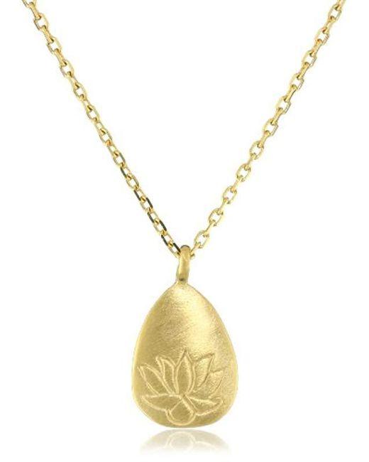 Satya Jewelry - Metallic Classics Gold-plated Lotus Pendant Necklace (18-inch) - Lyst