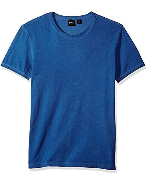 BOSS Blue Boss Orange Garment Dyed Cotton Slim Flit Crew Neck Tee Shirt for men