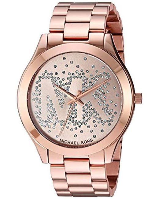 23f970942c07 Michael Kors - Pink Slim Runway Logo Rose Gold-tone Watch Mk3591 - Lyst ...