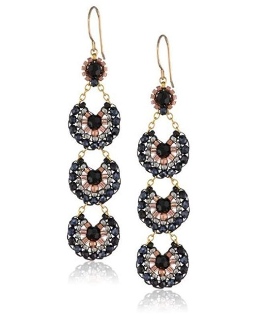 Miguel Ases - Black Onyx And Hematite Long Drop Earrings - Lyst