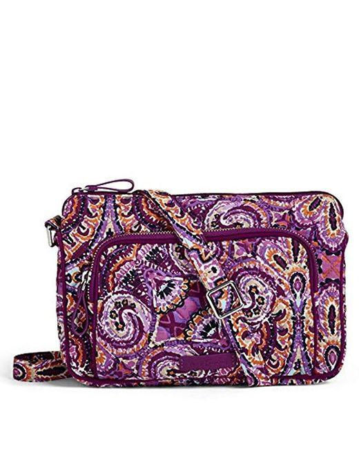 Vera Bradley Purple Iconic Rfid Little Hipster, Signature Cotton