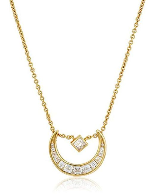 Nicole Miller - Metallic New York Crescent Slide Pendant Necklace - Lyst