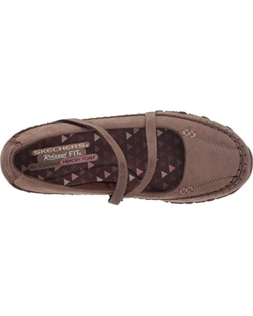 ca85437aa21d ... Skechers - Brown Bikers-free Thinker-whipstitched Mary Jane Flat - Lyst  ...