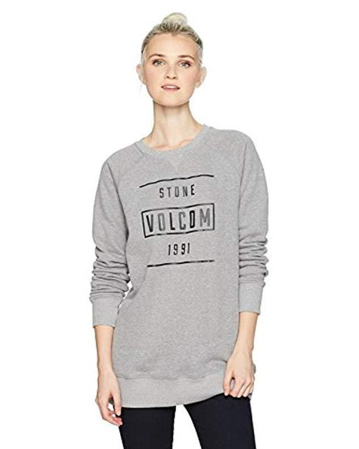 Volcom - Gray 6mile Pullover Butter Heather Fleece Crew - Lyst