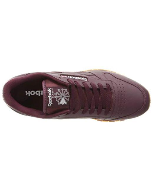 ... Reebok - Purple Cl Lthr Gum Cu Fashion Sneaker for Men - Lyst d47c59554