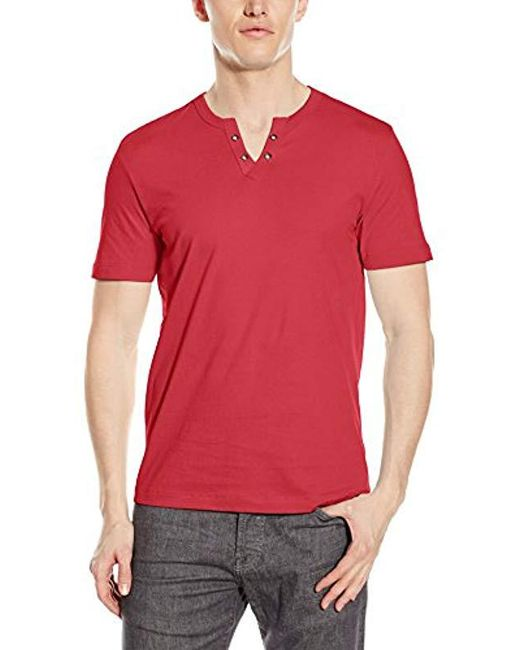 Kenneth Cole Reaction - Red Short Sleeve Eyelet Henley Shirt for Men - Lyst
