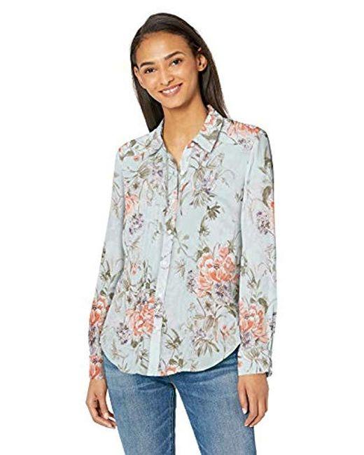 Nanette Nanette Lepore Blue Ls Buttondown Shirt W/pintucs