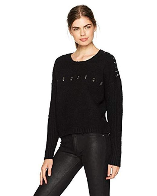 Guess - Black Long Sleeve Grommet Ring Ribbed Mix Sweater - Lyst