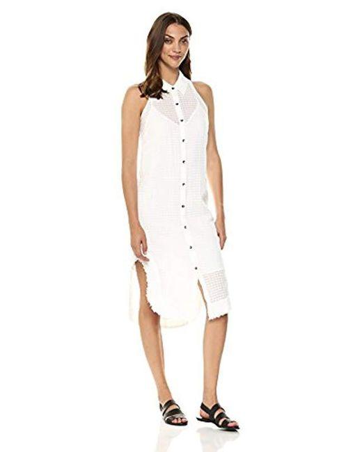 502be5991 Splendid - White Shirt Dress With Fray - Lyst ...