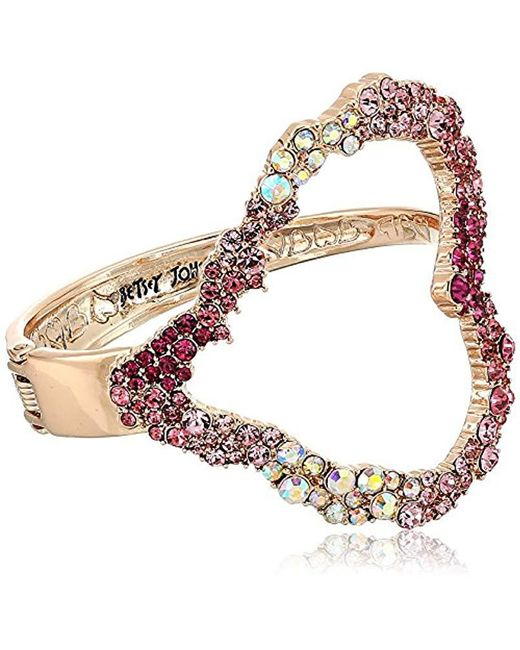 Betsey Johnson - Pink S Rose Gold Open Heart Cuff Bracelet - Lyst