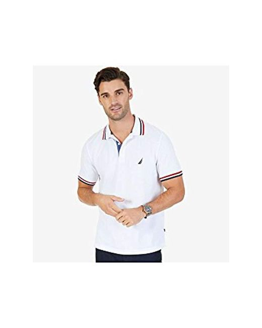 20af67192bca3 ... Nautica - White Short Sleeve Performance Pique Polo With Tipping for Men  - Lyst ...