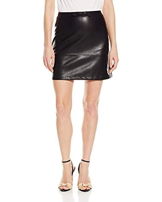 French Connection - Black Atlantic Pu Drawstring Skirt - Lyst