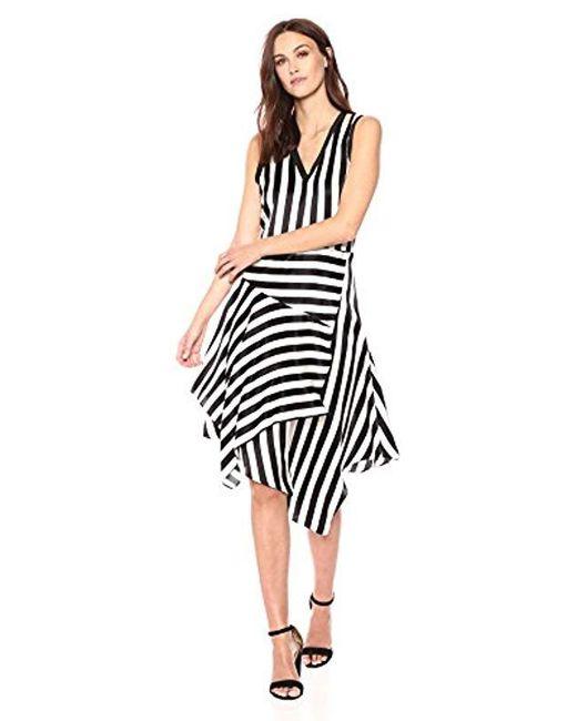 Nicole Miller - Black Getaway Stripe Asymmetrical Dress - Lyst