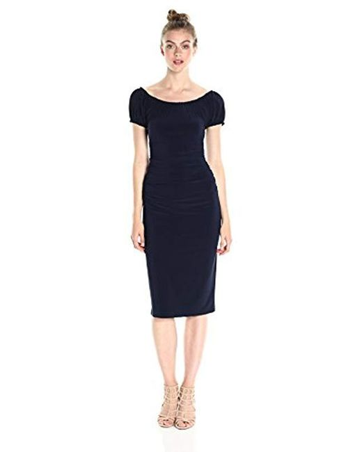 Norma Kamali - Blue Sophia Shirred Waist Dress - Lyst
