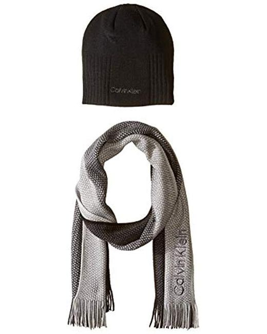 Lyst - Calvin Klein Hat And Scarf Set in Black for Men - Save 45% 3d0afb617f5