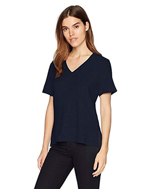 Michael Stars - Blue Madison Brushed Jersey Short Sleeve V-neck With Side Slits - Lyst