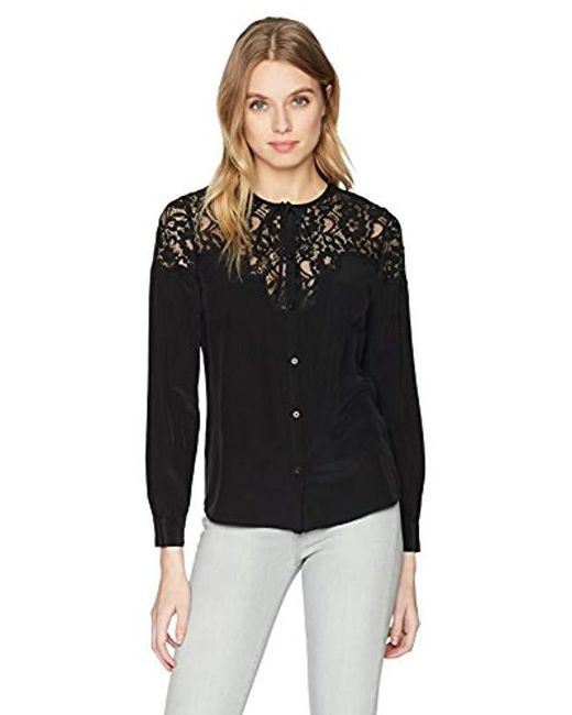 Rebecca Taylor - Black Ls Silk & Lace Top - Lyst