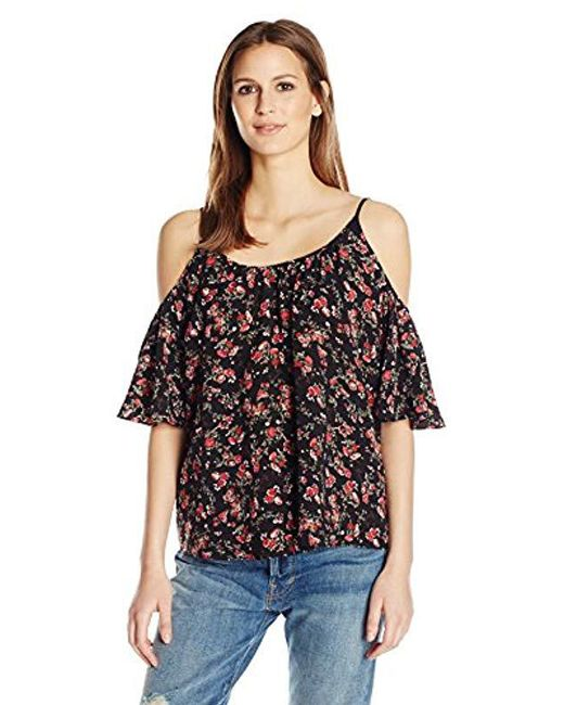 French Connection - Black Anastasia Ditsy Polly Plains Top - Lyst