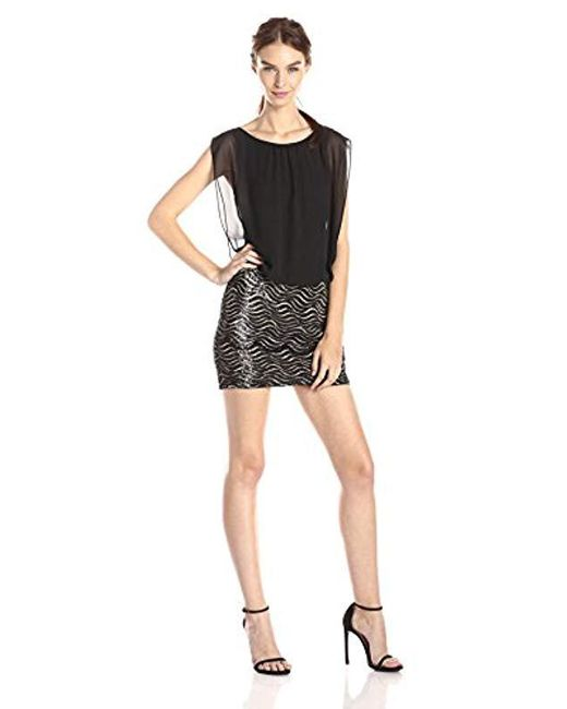 Aidan By Aidan Mattox - Black Sequin Wave Skirt With Blouson Bodice Dress - Lyst