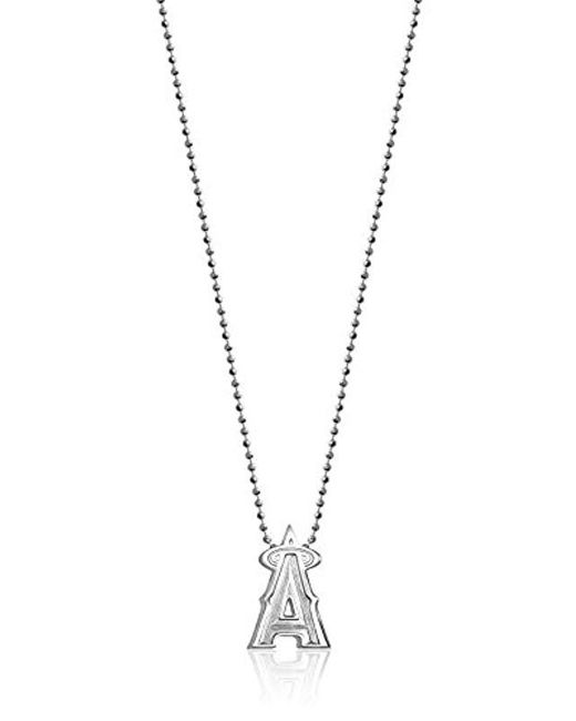 """Alex Woo - Metallic Little Mlb Sterling Silver Los Angeles Angels Pendant Necklace, 16"""" - Lyst"""