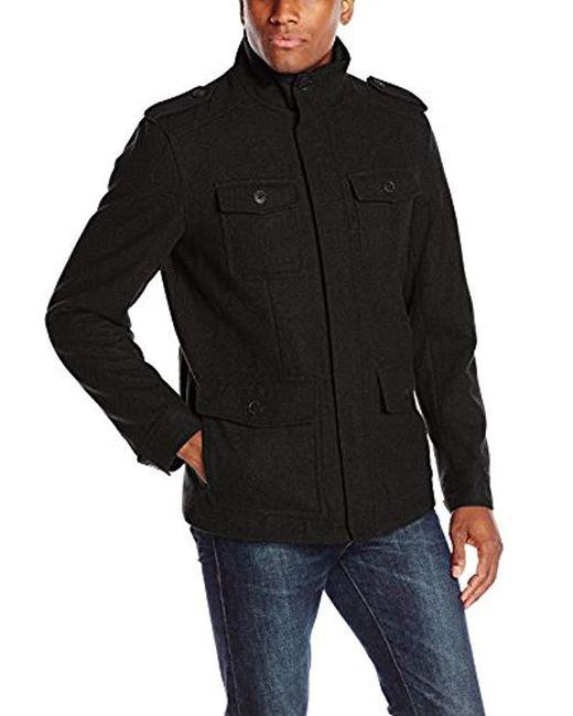 Dockers - Black Wool Melton Four Pocket Military Field Jacket for Men - Lyst