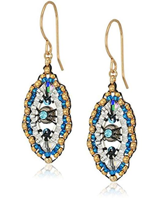 bc34c0be3 Miguel Ases - Blue Small Swarovski Center Oval Ruffle Contrast Drop Earrings  - Lyst ...