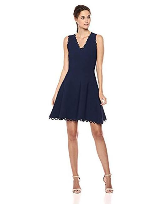 MILLY - Blue Knit Eyelet Scallop Fit And Flare Dress - Lyst
